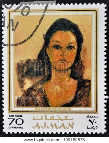 AJMAN - CIRCA 1970 A stamp printed in Ajman shows Kathy by Alexander Rutsch circa 1970