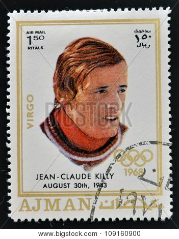 AJMAN - CIRCA 1970: A stamp printed in Ajman shows Jean-Claude Killy circa 1970