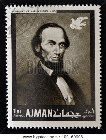 Stamp printed in Ajman in memory of Martin Luther King Human Rights shows Lincoln