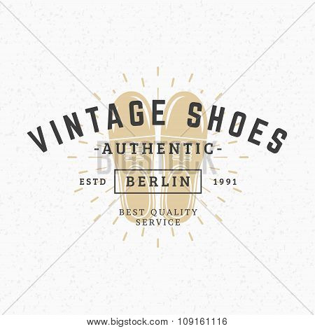 Shoes. Vintage Retro Design Elements For Logotype, Insignia, Badge, Label. Business Sign Template. T