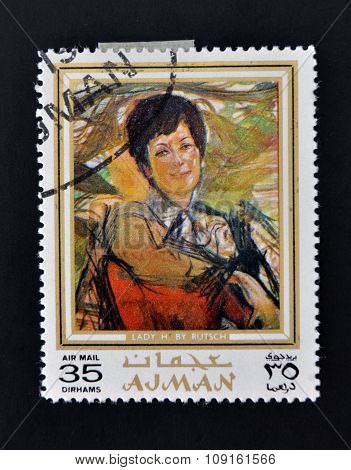 AJMAN - CIRCA 1970 A stamp printed in Ajman shows Lady portrait by Alexander Rutsch circa 1970