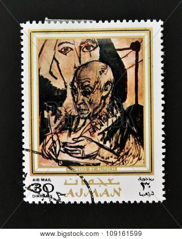 AJMAN - CIRCA 1970 A stamp printed in Ajman shows Picasso portrait by Alexander Rutsch circa 1970