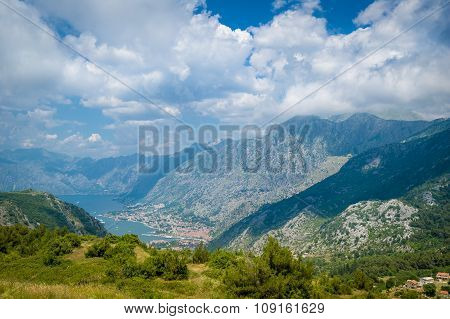 Mountain view to The Bay of Kotor and Perast ancient town