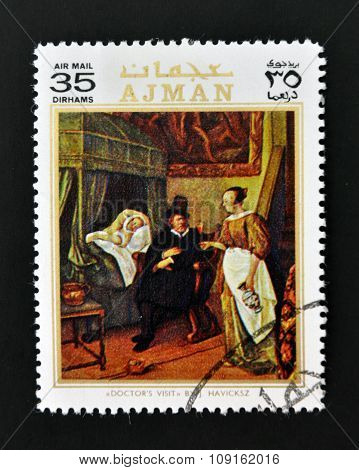 AJMAN - CIRCA 1970: A stamp printed in Ajman shows Doctor´s visit by Havicksz circa 1970