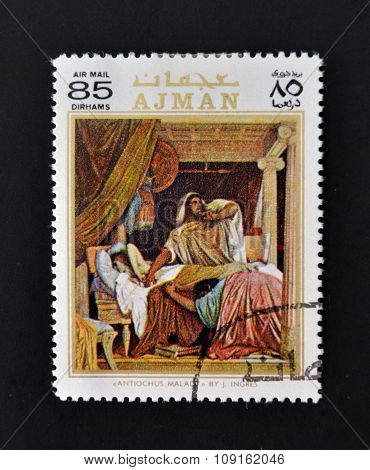 AJMAN - CIRCA 1970: A stamp printed in Ajman shows Antiochus Malady by Ingres circa 1970