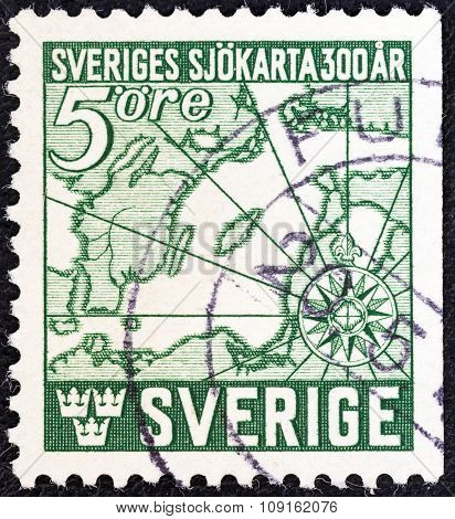 SWEDEN - CIRCA 1944: Stamp shows first Swedish navigators chart