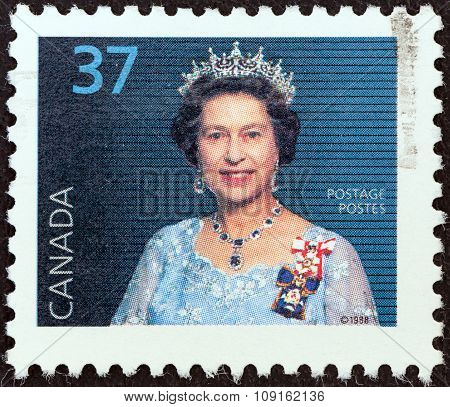 CANADA - CIRCA 1988: A stamp printed in Canada shows Queen Elizabeth II