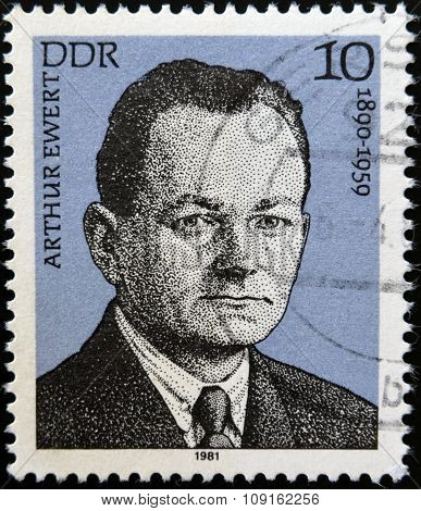 German Democrratic Republic -CIRCA 1981: A stam printed in German East shows Arthur Ewert circa 1981