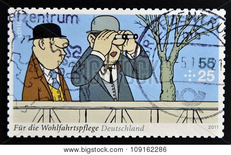 GERMANY - CIRCA 2011: A stamp printed in Germany shows a fragment of the Sketch comedy Loriot