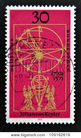 stamp printed in Germany issued for the 400th birth anniversary of astronomer Johannes Kepler