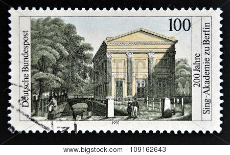 GERMANY- CIRCA 1991: stamp printed in Germany shows Choral Singing academy of Berlin circa 1991
