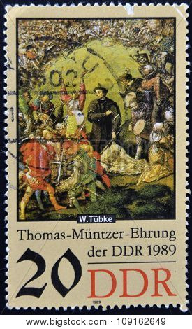 stamp printed in GDR shows Battle Scene Detail of the Painting Early Bourgeois Revolution in Germany