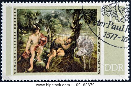 stamp printed in GDR (East Germany) shows Mercury and Argus Painting by Peter Paul Rubens