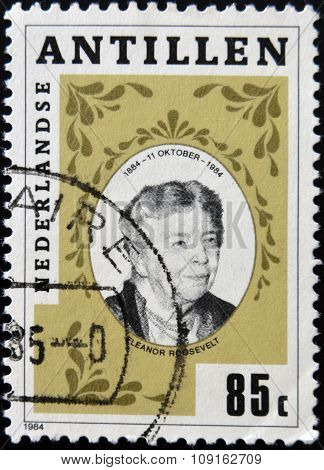 NETHERLANDS ANTILLES - CIRCA 1984: A stamp printed in Netherlands Antilles shows Eleanor Roosevelt
