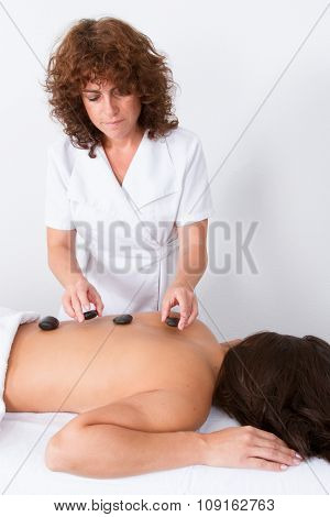 Attractive Woman Getting Spa Treatment, Isolated On White Background