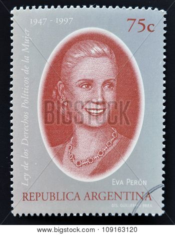 ARGENTINA - CIRCA 1998: a stamp printed in Argentina shows Evita Peron