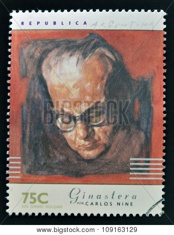 A stamp printed in Argentina dedicated to argentinian musicians shows Alberto Ginestera