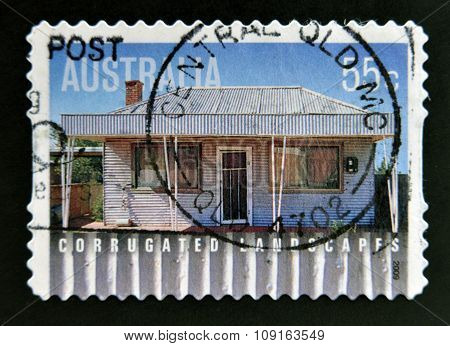 Australian stamp shows image of corrugated iron house