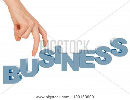 Womans hand with word business