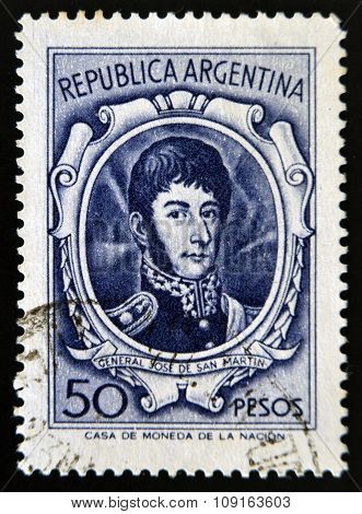 ARGENTINA - CIRCA 1970: A stamp printed in Argentina shows General Jose de San Martin