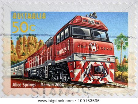 A Stamp printed in Australia shows the Alice Springs to Darwin line Australian Railways