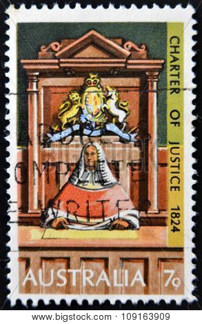 AUSTRALIA - CIRCA 1973: stamp printed in Australia shows Supreme Court Judge on Bench