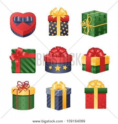 Colorful 3d gift boxes, bows and ribbons vector set. Gift boxes vector illustration. Vector Christmas gift box. Christmas box isolated on white. Christmas, birthday gift box set. Holiday gift box