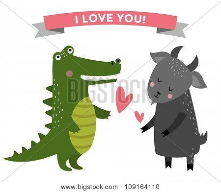 Cute cartoon animals couples fall in love banner vector illustration. Vector animals wedding. Different animals like people love togetherness concept. Vector animals, pets, wild. Crocodile, goat