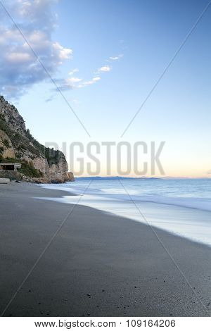 Sunset over the Ligurian Sea. Color image