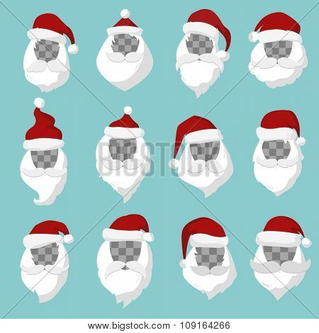 Portrait Santa Claus face cut silhouette. Santa face,  mustache and santa red hat transparency.Santa hat. New Year 2016 santa face.Santa head vector. Santa Christmas greeting card. Santa face isolated