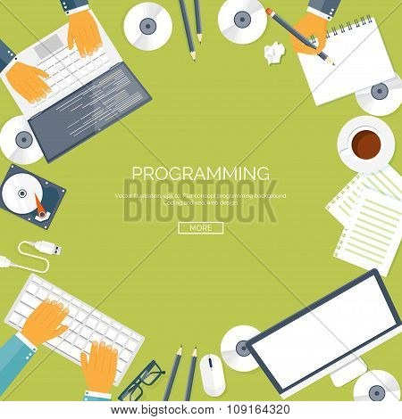 Vector illustration. Flat computing background. Programming ,coding. Web development and search. Sea