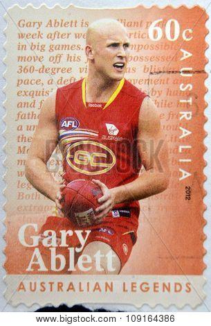 AUSTRALIA - CIRCA 2012: A stamp printed in Australia shows Gary Ablett australian legends circa 2012