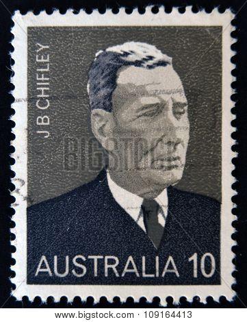AUSTRALIA - CIRCA 1975: A stamp printed in Australia shows Ben Chifley circa 1975