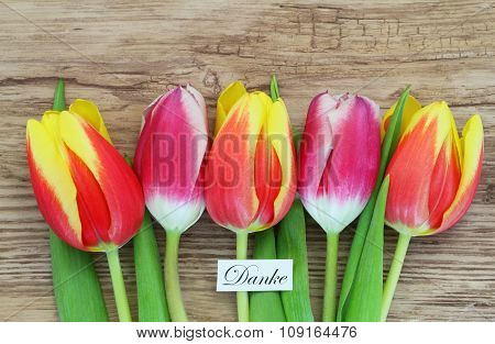 Danke (thank you in German) with colorful tulips