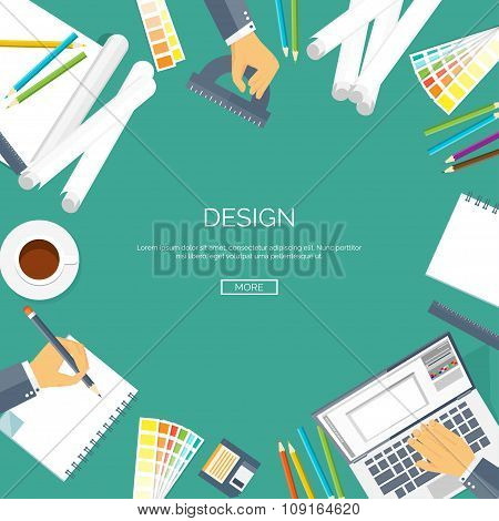 Vector illustration. Flat background. Web design , drawing, painting. Project planning. Palette. Pap