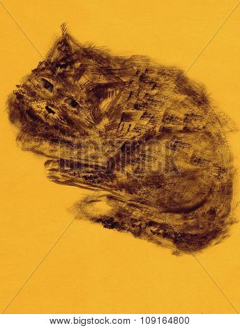 Dark cat on yellow background