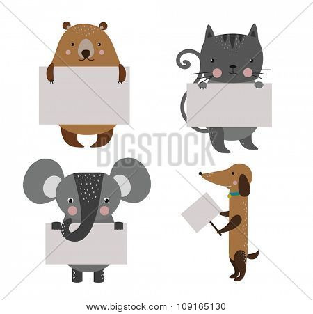 Wild animal zoo banner vector cartoon set. Wild vector animals. Jungle animals pets. Vector animals. Bear and dog, cat, elephant. Sea, forest animals holding banner. Vector animals. Animals isolated