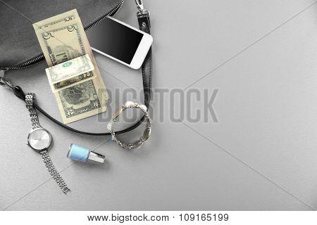 Ladies handbag on gray background