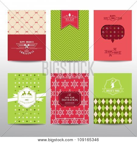 Set of Christmas Brochures and Cards - vintage layouts - in vector