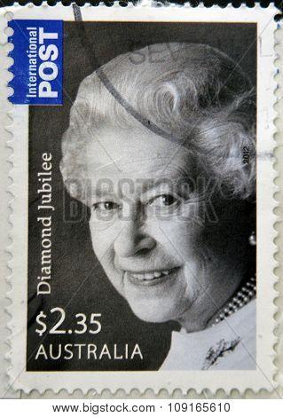 AUSTRALIA - CIRCA 2012: stamp printed in Australia shows Queen Elizabeth II circa 2012