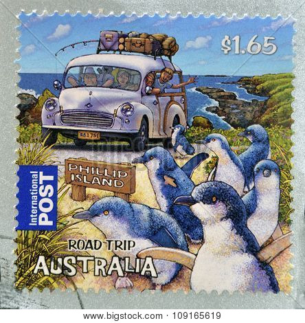 AUSTRALIA - CIRCA 2012: A stamp printed in Australia dedicated to the road trip