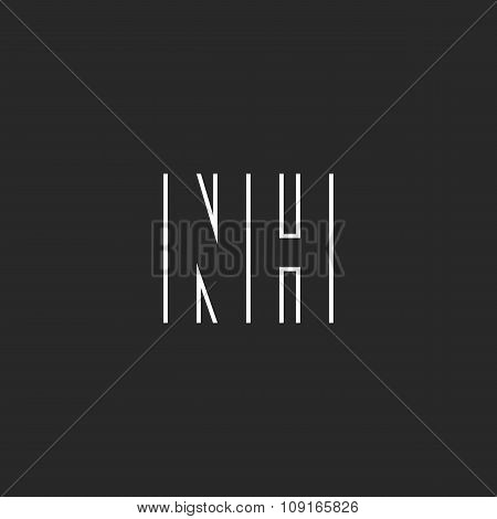 Letter Nh Logo Monogram, Decoration Design Element Template, Mockup Wedding Invitation Union Emblem