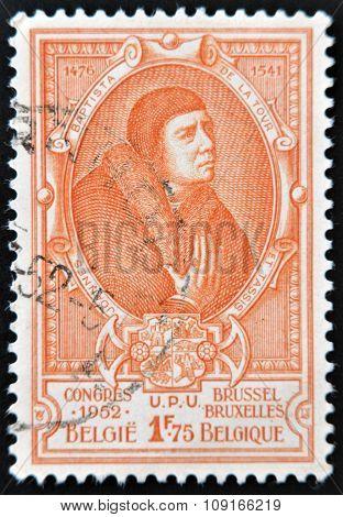 BELGIUM - CIRCA 1952: A stamp printed in Belgium shows Jean Baptiste Leschenault de la Tour