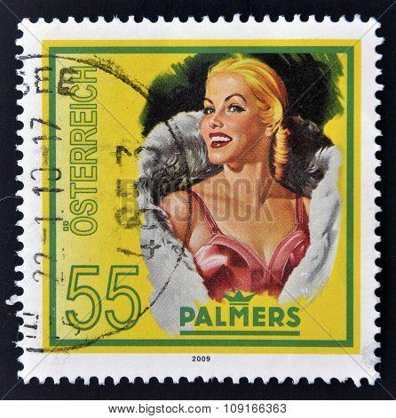 AUSTRIA - CIRCA 2009: A stamp printed in Austria shows a blond women palmers