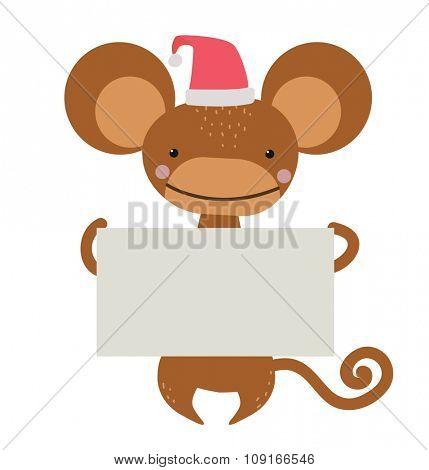 New Year Christmas cartoon monkey Santa hat holding banner. Wild cartoon monkey. Christmas ape monkey. Monkey cartoon illustration. Vector ape holding banner. Monkey 2016