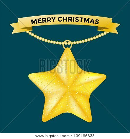 Vintage vector Christmas star toy. Colorful New Year tree star decoration toys. Christmas star tree toy, Christmas star. Christmas decoration star greeting card, red ribbon, decor bow