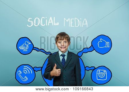 Teen boy businessman smiling and showing sign yes social media i