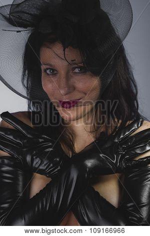 Elegance, widow with sensual look, dangerous woman