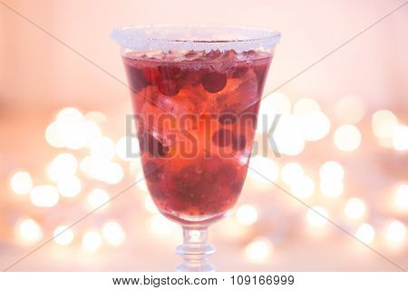 Glass Of Champagne And Cranberry Cocktail. Close Up
