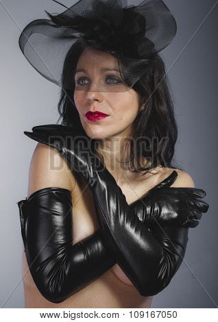 Sad, widow with sensual look, dangerous woman